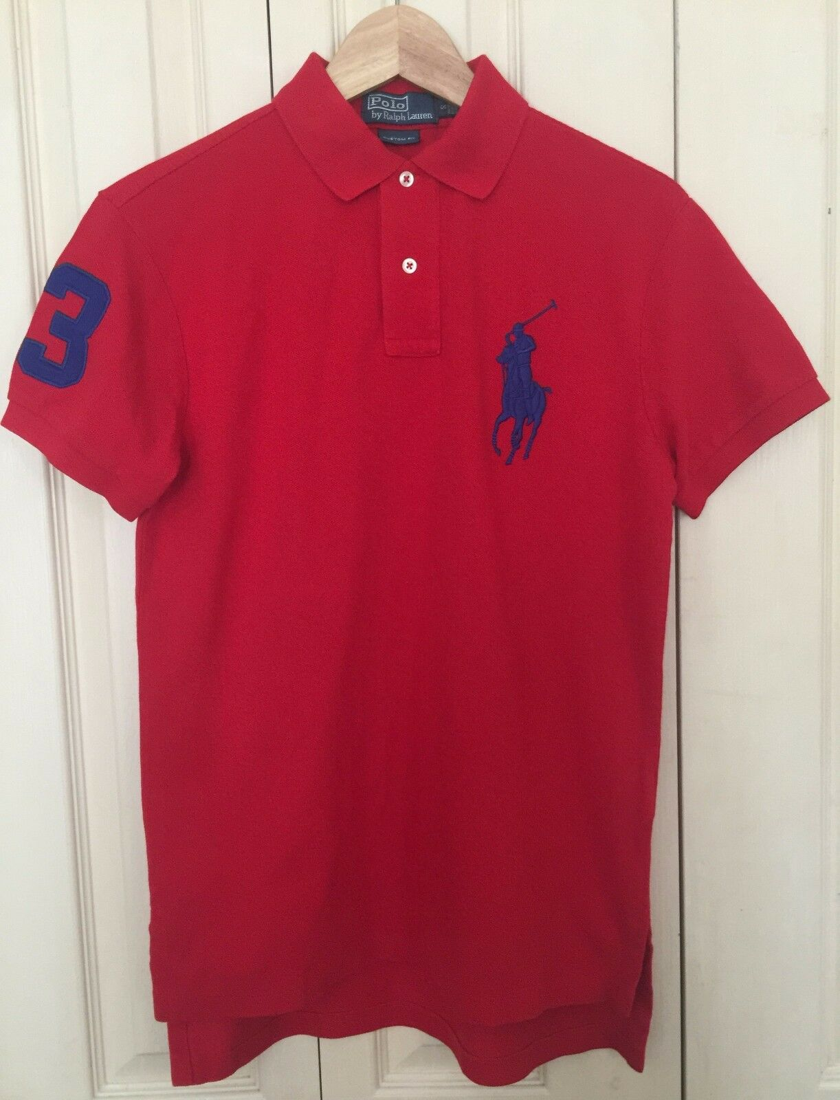 BNWT Polo Ralph Lauren Uomo Custom Fit rosso Manica Corta Camicia S 100% COTONE