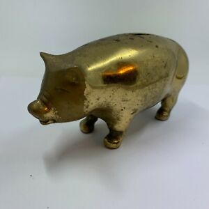 Vintage-Brass-Piggy-Bank-Heavy-Pig-Gold-Metal-Screw-On-Plate-Collectible-cute
