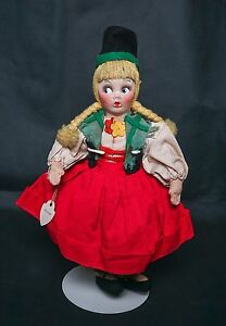 "Vintage Surprise Eye 12"" Stockinette Girl Doll Yarn Hair All Original Lenart TAG"