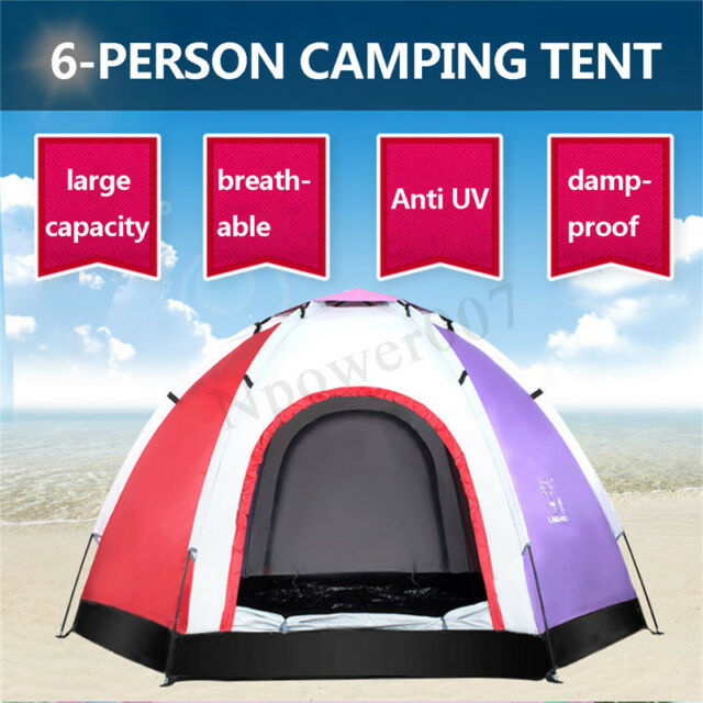 6 Person Camping Tent Outdoor Ultraviolet-proof Dome Shelter Hiking Portable