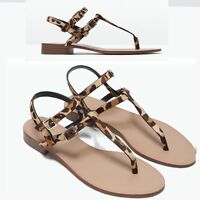 ZARA LEOPARD PRINT LEATHER SANDALS FLAT SHOES EUR 39/UK 6/USA 8 - NEW