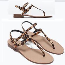 Zara Leopard Print sandalias de cuero zapatos planos euros 39/uk 6/usa 8-Nuevo