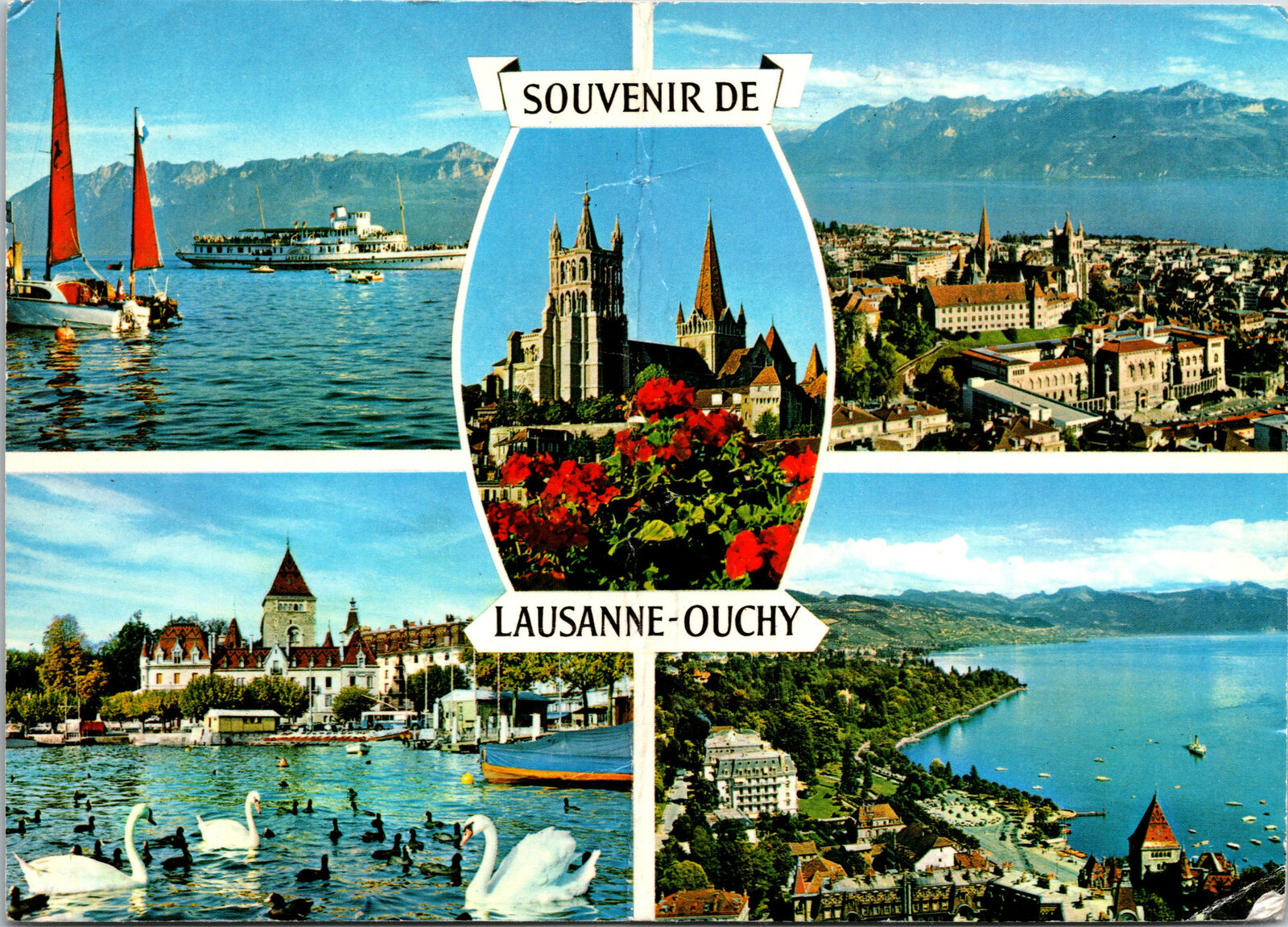 Vintage souvenir photo block of Lausanne and Ouchy in Switzerland-years /' 60