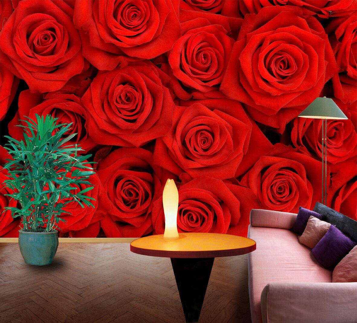 3D Rote Rosa Blaumenstrauß 9053 Tapete Wandgemälde Tapeten Bild Familie DE Jenny   Genialität    Attraktive Mode    Neues Produkt