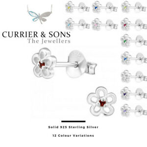 925-Sterling-Silver-Flower-with-Birthstone-Cubic-Zirconia-Stud-Earrings-Pairs