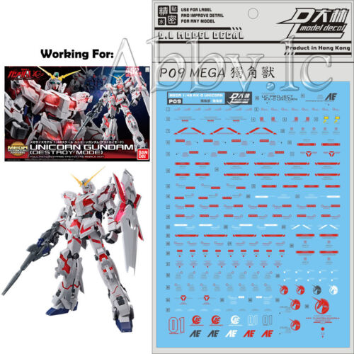 DL Water Decal Stickers for Bandai MEGA Size 1//48 RX-0 Unicorn 01 Gundam Model