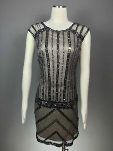 PHOEBE-by-Kay-Unger-Smoke-Gray-Pink-Crystal-Meshed-Lined-Beaded-Dress-Size-6-NEW