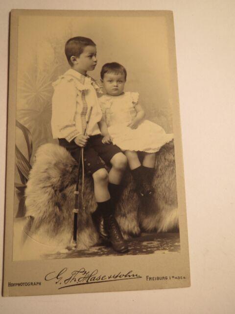 Freiburg i. B. - 2 Kinder - Richard und Helene - 1896 - Junge & Mädchen / CDV