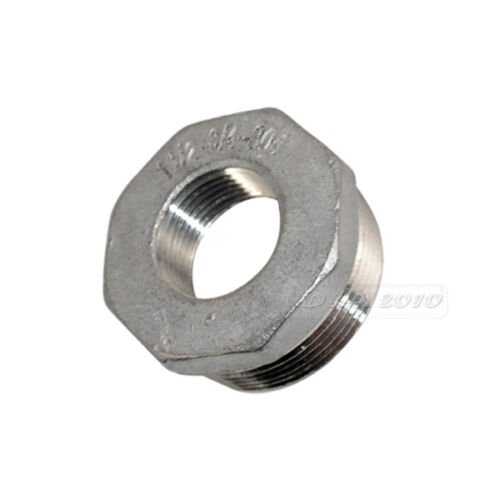 "1-1//2/"" Male x 3//4/"" Female Hex Threaded Reducer Bushing Pipe Fitting SS 304 BSPT"