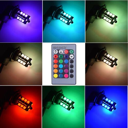 Remote Control 2PCS 9005 LED 27 SMD 5050 RGB Car Headlight Fog Light Lamp Bulb
