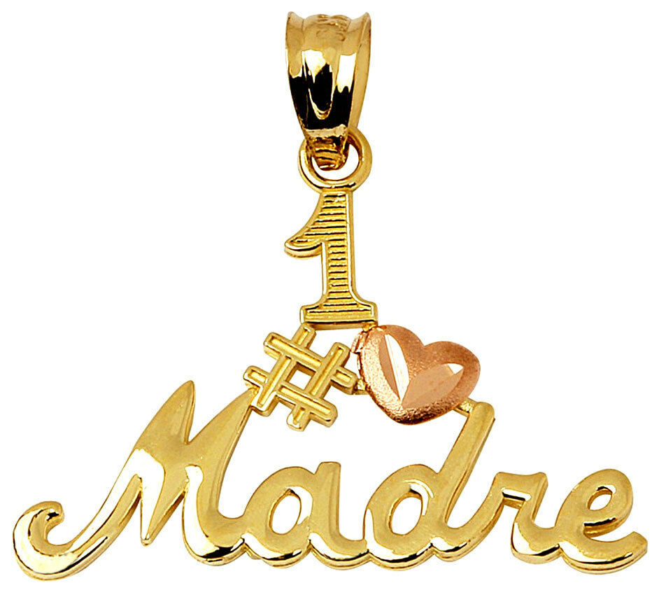 14k Two Tone gold Number One Madre Charm Pendant with pink gold Heart