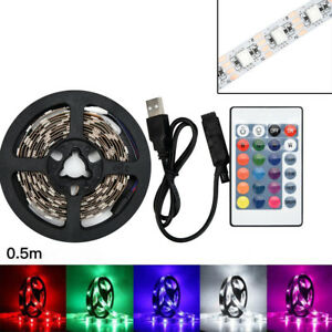 50CM-SMD5050-RGB-USB-LED-Leiste-Strip-Streifen-Band-Fernbedienung-TV-Backlight