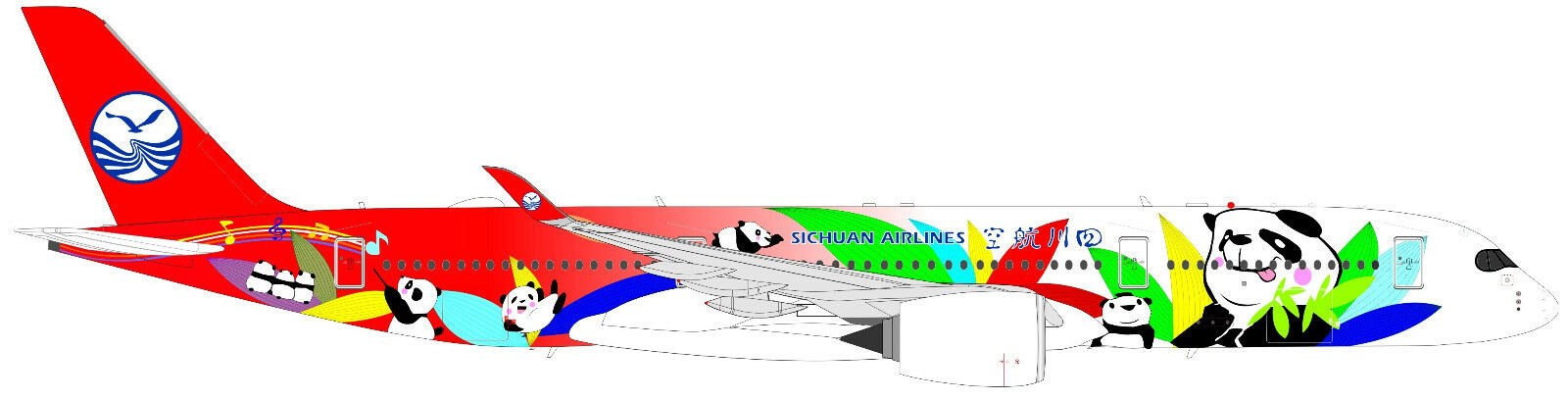JC WINGS LH2116A 1 200 SICHUAN AIRLINES A350-900 PANDA LIVERY FLAPS DOWN W STAND
