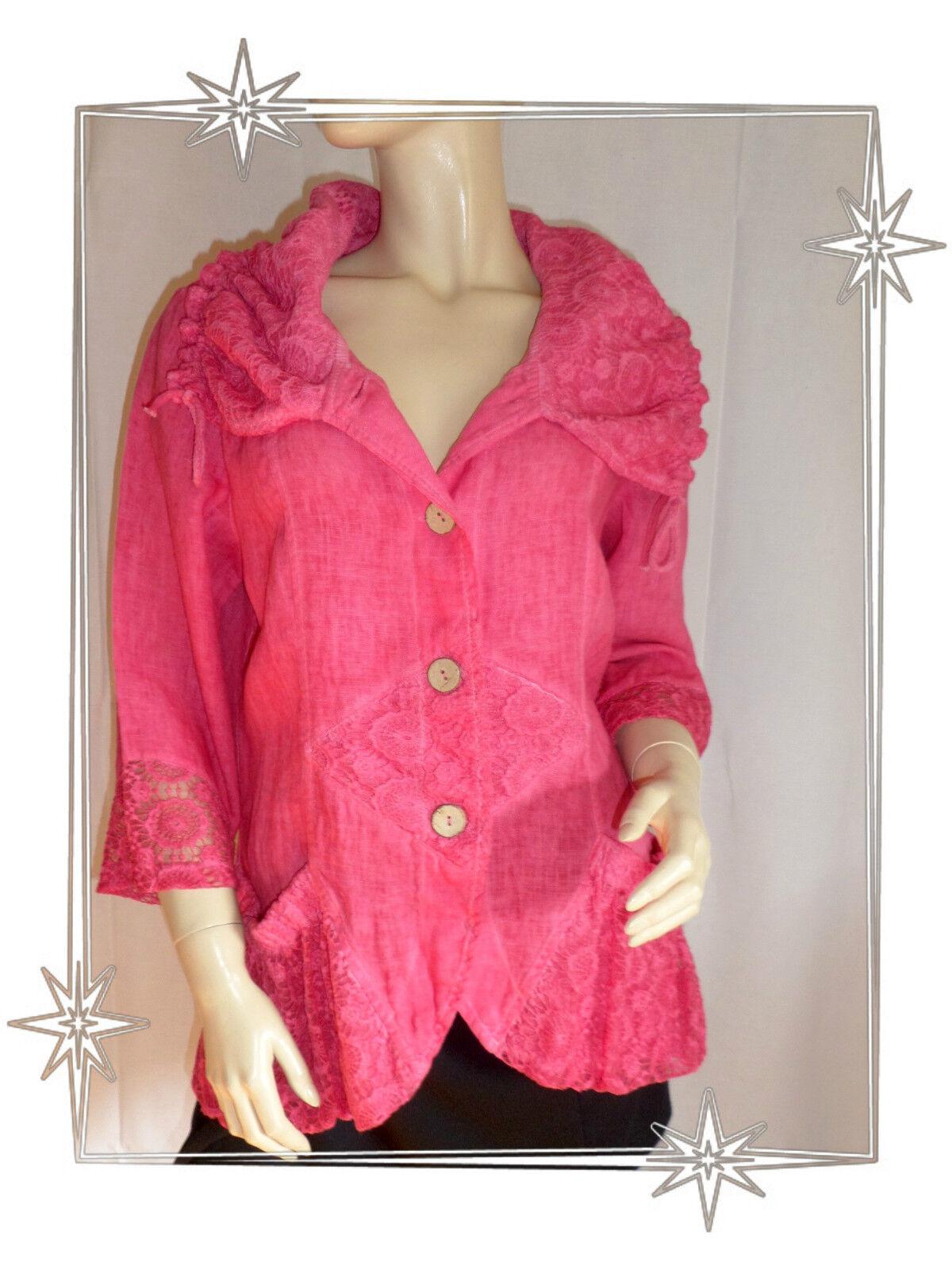 Magnifico Giacca Blazer Fantasia di lino Pizzo pink Lampone Misura 1 - 44