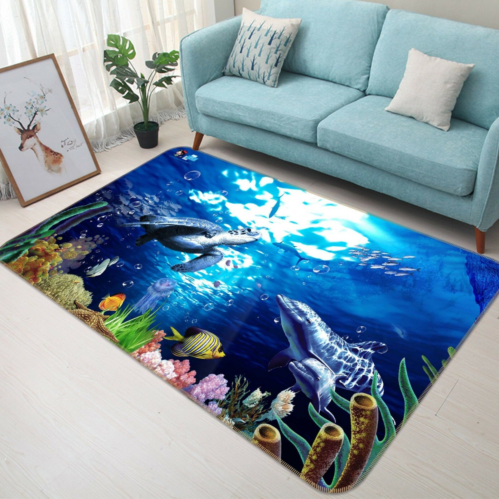 3D Coral Sea Animals 5 Non Slip Rug Mat Room Mat Quality Elegant Photo Carpet AU