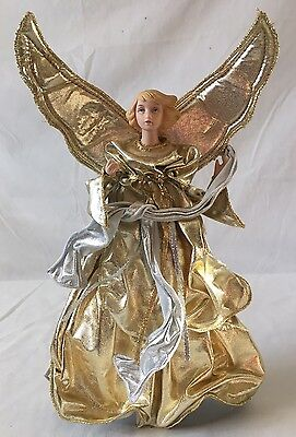 Gold Angel Christmas Tree Topper 12.5""