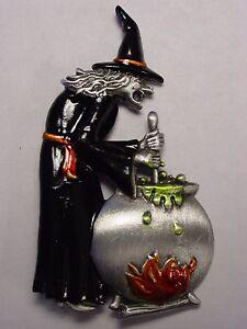 """""""jj"""" Jonette Jewelry Silver Pewter """"halloween Sorcière Brewing Une Potion"""" Pin-afficher Le Titre D'origine Forme éLéGante"""