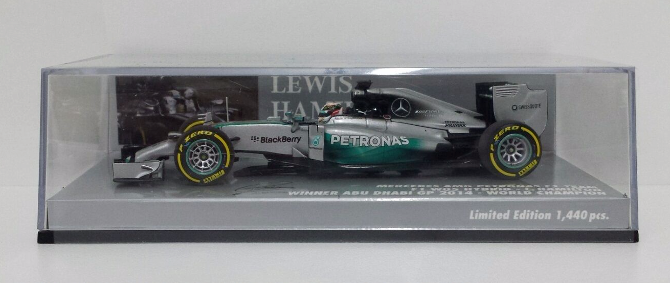 Minichamps Lewis Hamilton 1 43 Mercedes W05 F1 N.44  Winner Gp Abu Dhabi 2014 nouveau  70% de réduction