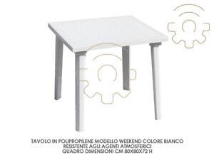 Détails sur Table Carré Weekend Blanc 80 X 80 X H 72 cm Petite Table pour  Décor de Jardin