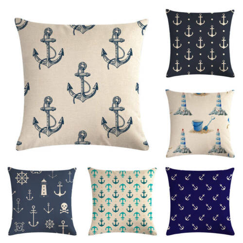 Sea Blue Lighthouse Printed Cushion Cover Anchor Pattern Marine Ship Pillow Case