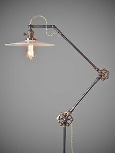Vintage Industrial Floor Lamp Machine Age Task Light