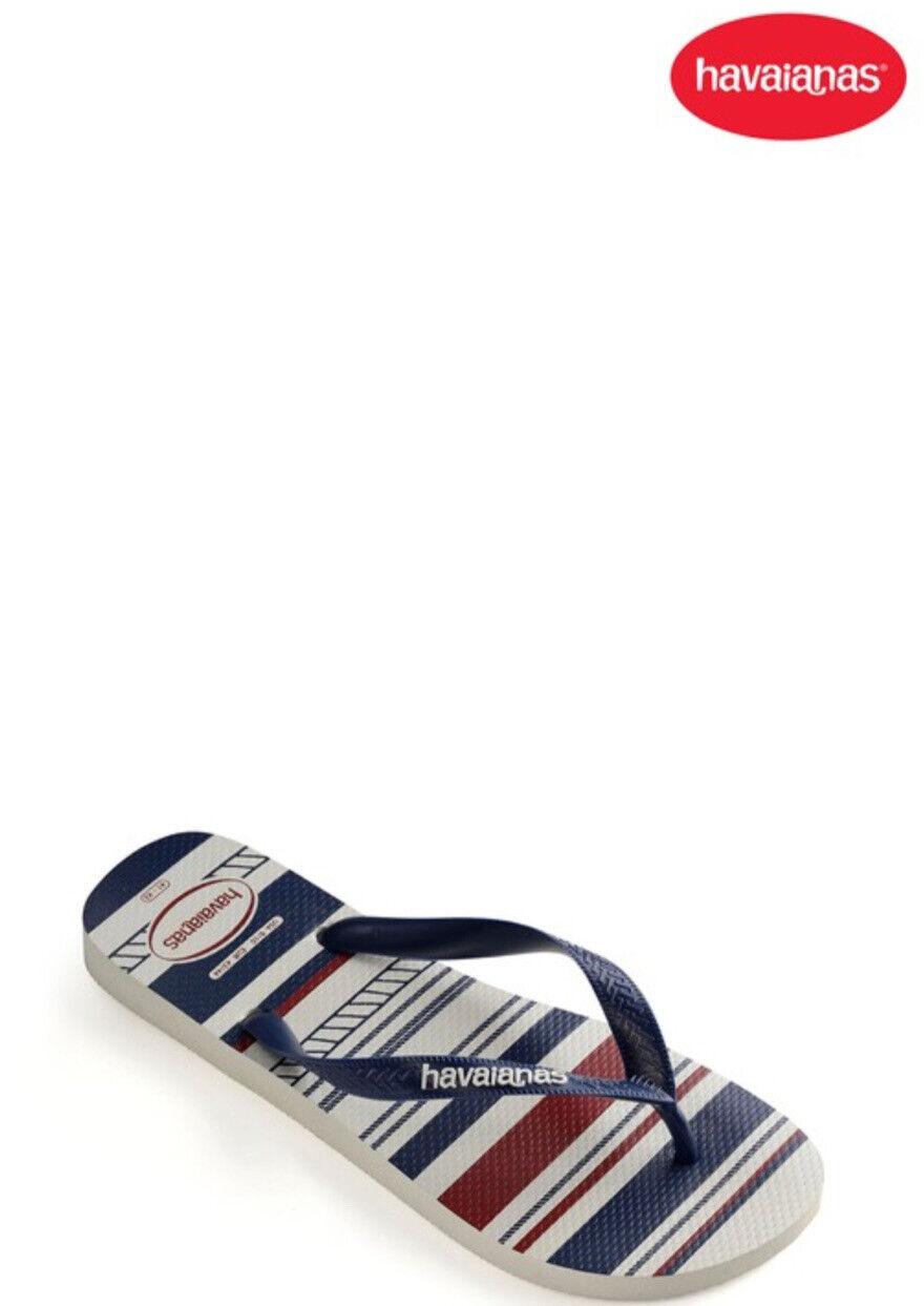 Havaianas Men Top Nautical Flip Flops size 9-10 (43-44), Red,blue,BNWT