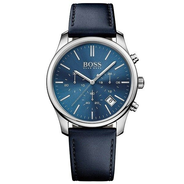 BRAND NEW HUGO BOSS BLUE LEATHER STRAP CHRONOGRAPH MEN WATCH HB1513431