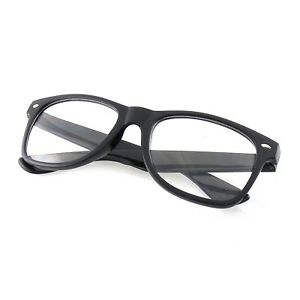 ef8ac77fce MENS WOMENS NERD BLACK GEEK GLASSES GLOSSY CLEAR LENS Clear frame ...