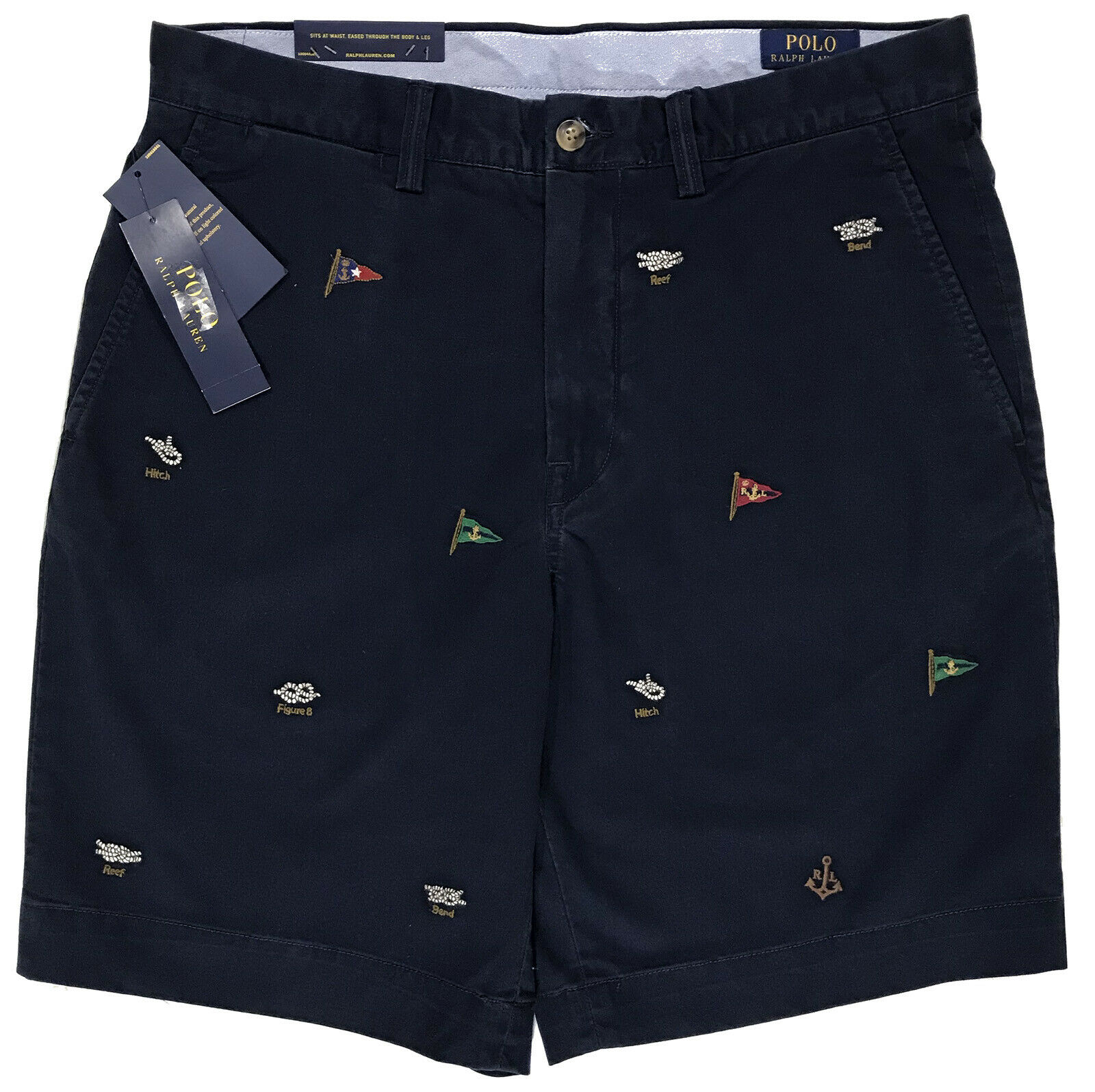 Men's POLO RALPH LAUREN Navy bluee Sailing   Boating Flag Shorts 32 NWT NEW WoW