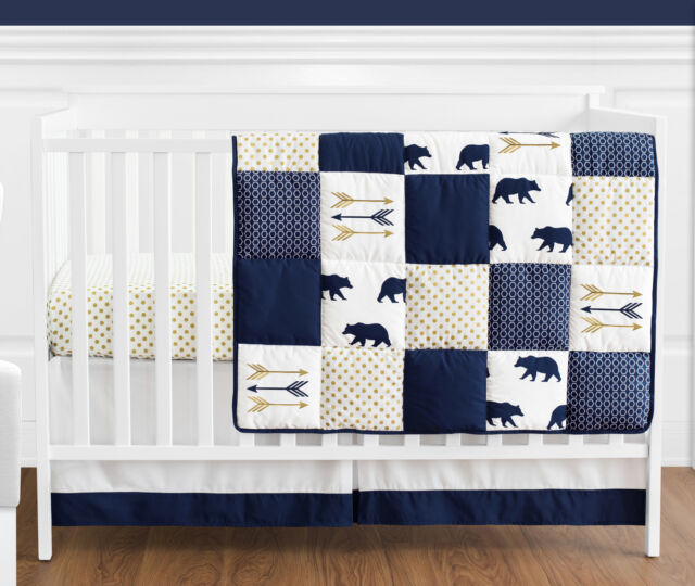 Dot Woodland Bear Baby Boy Bedding Crib