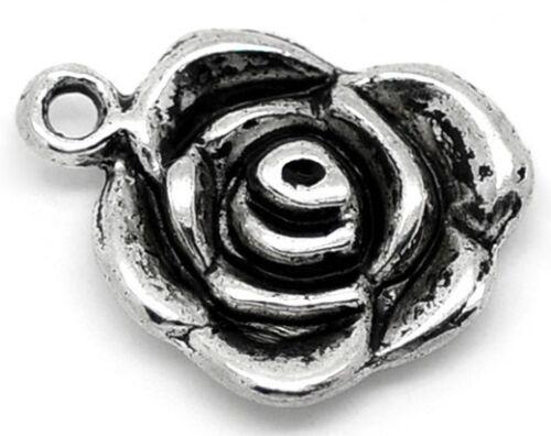 Lot de 4 pendentifs breloques fleur rose argenté vieilli 14 x 17 mm