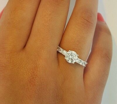 2 Ct Round Cut Solitaire Engagement Wedding Promise Ring Solid 18K White Gold