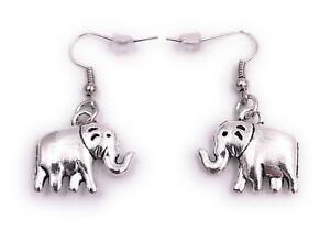Elefante-Orejas-Pendientes-Colgante-Plata-de-Metal