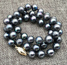 """8mm Black South Sea Shell Pearl Necklace 18"""" AAA"""