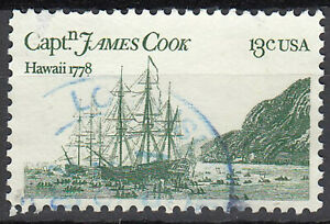 Estados unidos sello con sello 13c James Cook velero aproximadamente Hawaiian sello/5153