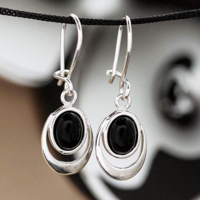 Onyx Silber 925 Ohrringe Damen Schmuck Sterlingsilber H174