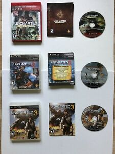 Uncharted 1 2 & 3 Trilogy Bundle Lot Sony PlayStation 3 PS3 Games Complete VGUC!