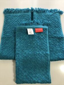 """4 Pack Opalhouse Royal Blue Soft Jacquard Textured Accent Hand Towels 16×28/"""""""