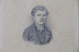 Ritratto-di-Giovane-Uomo-Disegno-Antico-Firmato-Cazin-1849