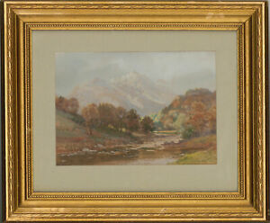 George-Trevor-Mid-20th-Century-Watercolour-Autumnal-Landscape-with-Mountains