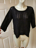 Kensie $78 Black Lace Knit Mohair Blend Jagged Hem Sweater Top S Small
