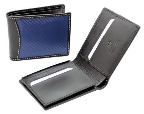 Starhide Uomo Reale in fibra di carbonio Vera Pelle Custodia TRIPLA wallet nero blu -1165