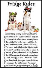 """Siberian Husky Dog Gift - Large Fridge Rules flexible Magnet 6"""" x 4"""""""