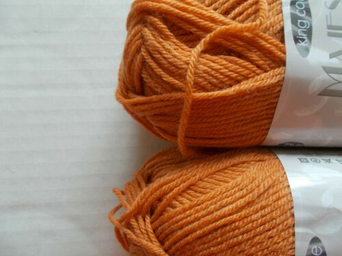 131 yds ea lot of 2, King Cole Majestic DK wool blend yarn Burnt Orange