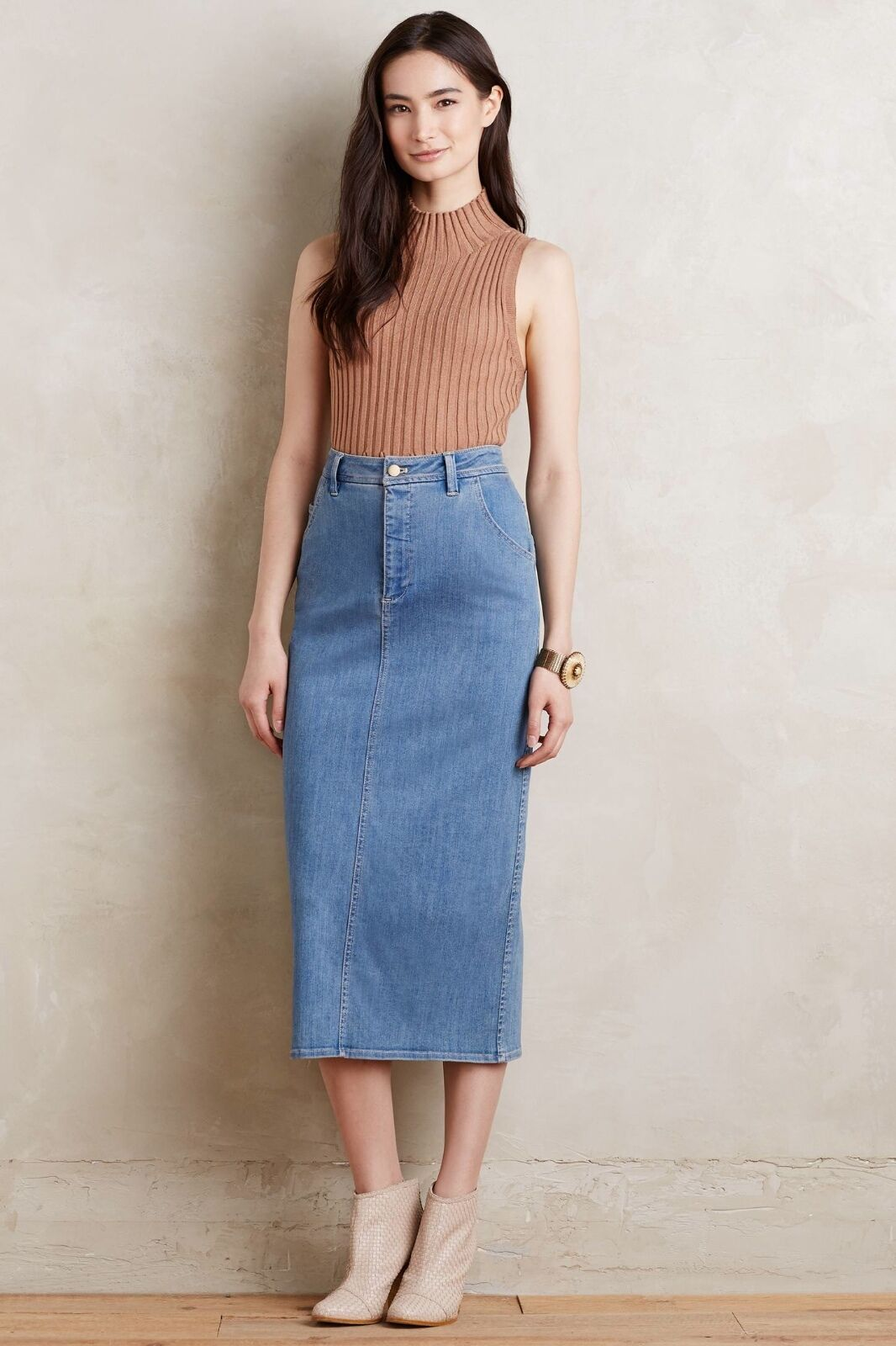 NWT Anthropologie Pomona Denim Midi Skirt by Holding Horses Sz 4, 5 REVIEW