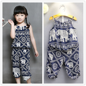 2pcs Toddler Baby Girls National Suit Sleeveless Blouse+Pants Summer Clothes Set