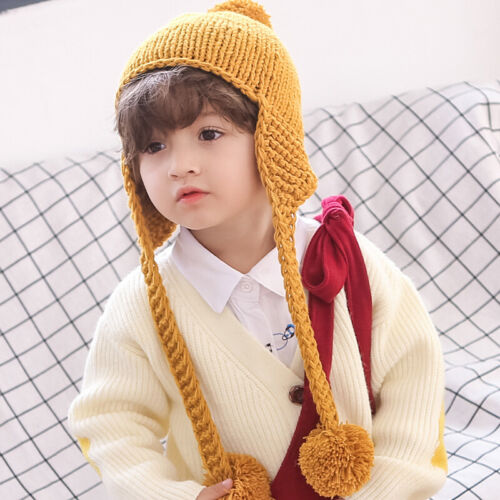 Baby Cute Pompom Big Ball Hat Winter Cotton Knit Girl Boy Child Hat Accessories