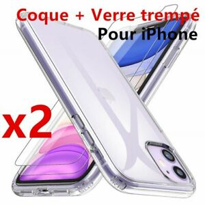 Lot-de-2-Vitre-Verre-trempe-Protection-Coque-TPU-iPhone-6S-7-8-Plus-XR-XS-MAX