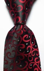 New-Classic-Paisley-Black-Red-Silver-JACQUARD-WOVEN-100-Silk-Men-039-s-Tie-Necktie