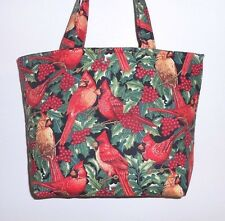 Handmade Christmas Cardinals with Holly & Red Berries Tote Purse Bag